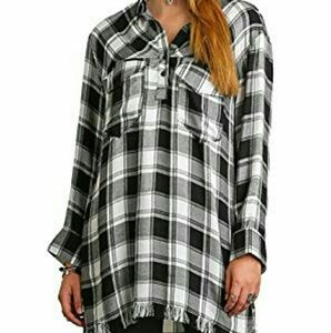 Umgee plaid tunic pullover blouse